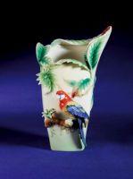 FZ00747 Franz Porcelain Rainforest Paradise Calling Macaw Vase - Last One