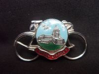 H485 Pin or Brooch in the shape of Bicycle with an enamel crest and London City Airport