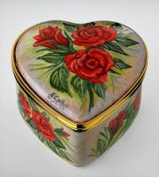 Elliot Hall Enamels Rose Heart Valentine Box Limited Edition No. 22 of 25 Freehand Painted by Artist  Sandra Selby